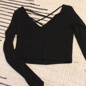 Long sleeve crop top with semi open back